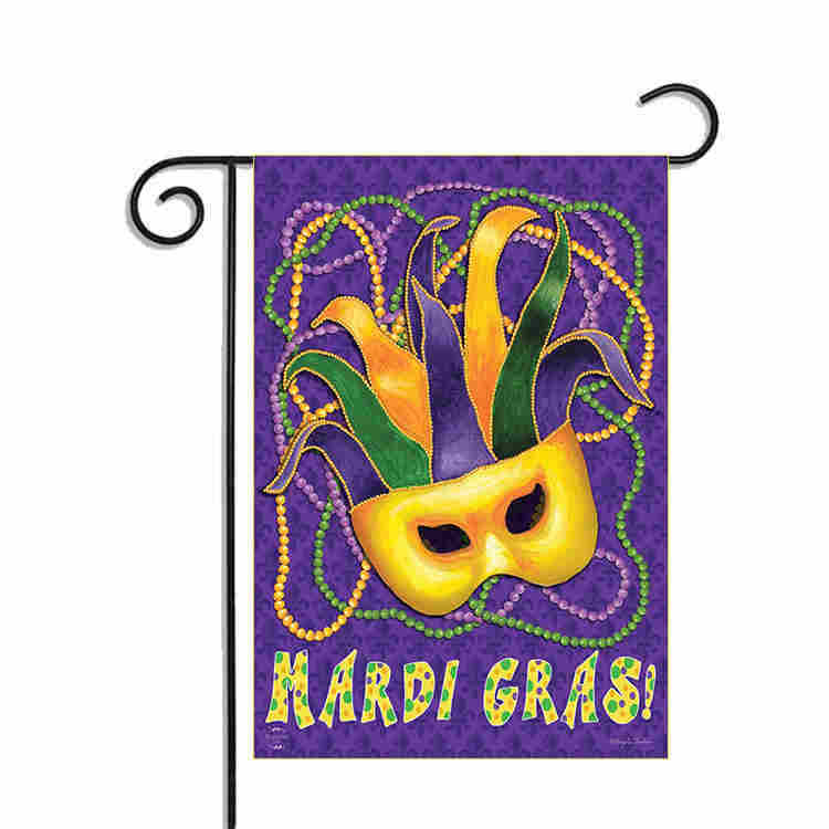 "Mardi Gras Garden Flag Mask Beads Holiday 12.5"" x 18"""