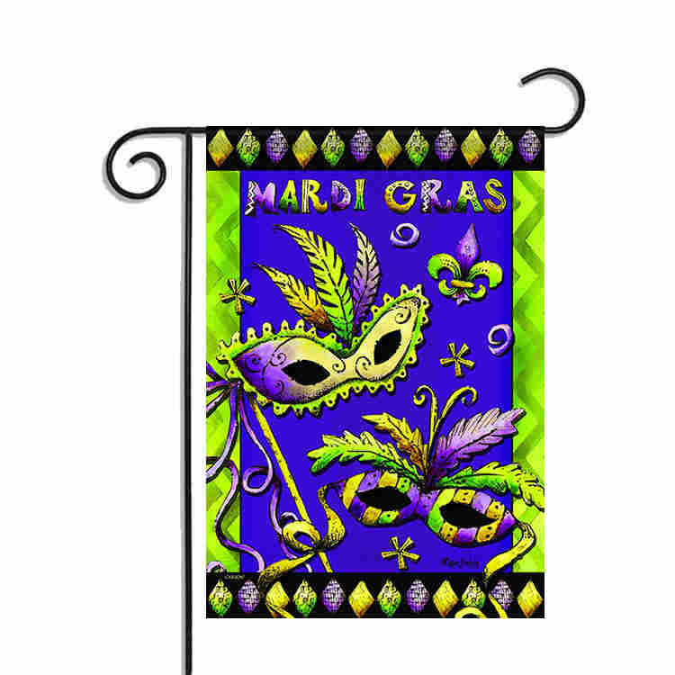 Mardi Gras Garden Flag Feather Mask