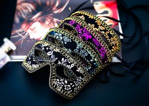 Assorted Color Men's Masquerade Masks Flower Priented Style