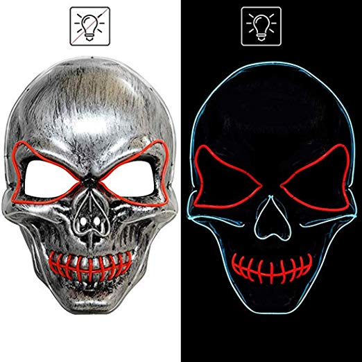 Light Up Masks LED Skull Mask Smiling Mask