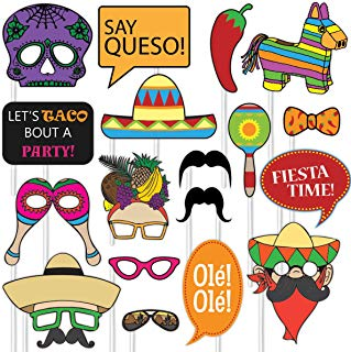 Mexican Fiesta Photo Booth Props,Funny Cinco De Mayo For Mexican Birthday Wedding Bachelorette Fiesta Themed Parrty