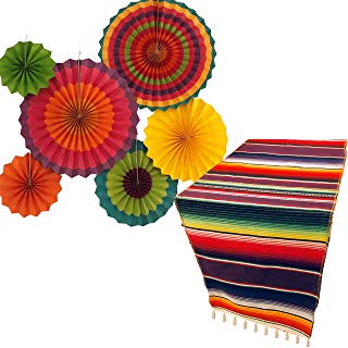 Fiesta Party Supplies | Mexican Party Decorations | Theme Decor for Wedding, Birthday, Cinco De Mayo, Coco, Taco, etc. | Serape Table Runner | Colorful Paper Fans