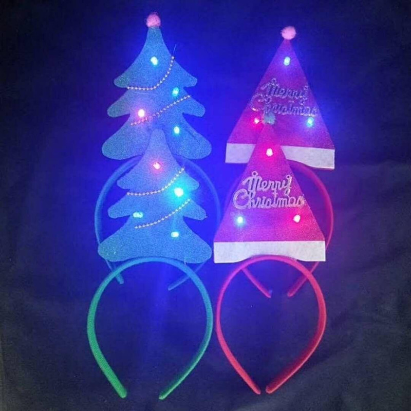 Light Up Christmas Headband Decoration Christmas Three and Hat