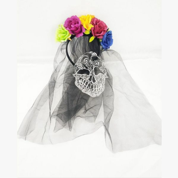 Day of The Dead Black Veil Headband Hair Accessories Bride Headband Colorful Flower