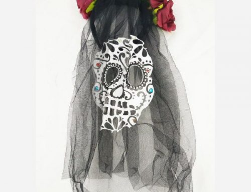 Day of The Dead Black Veil Headband Colorful Flower Bride Hair Accessories