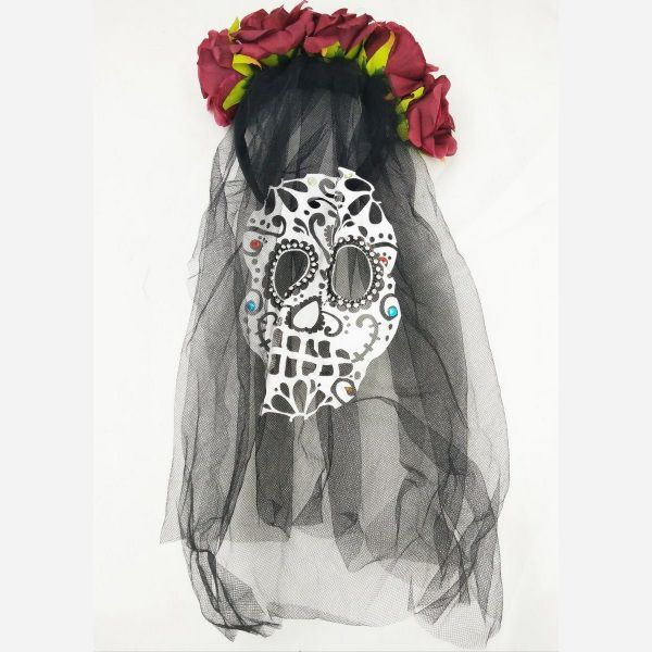 Red Flower Day of The Dead Black Veil Headband Hair Accessories