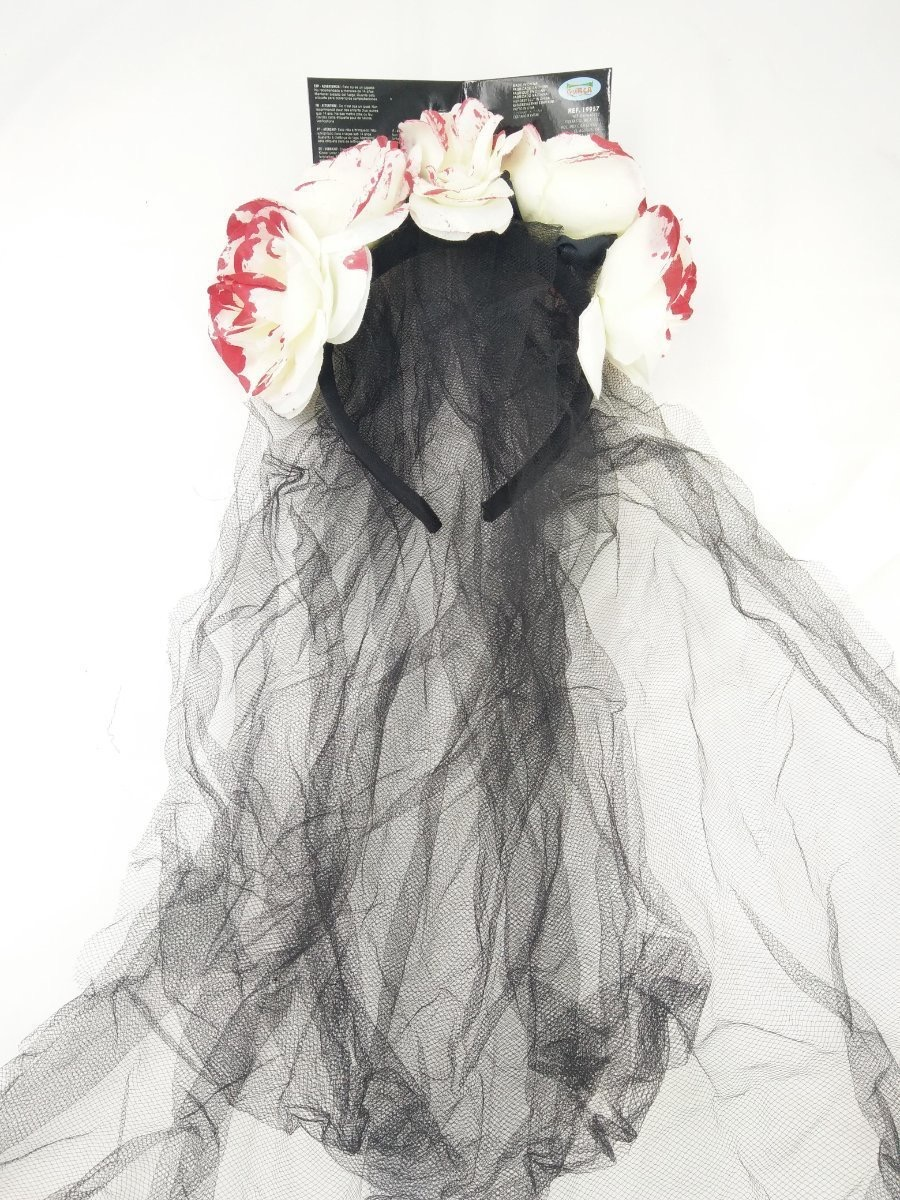 White Flower Crown Headbands with Black Veil Hair Accessories