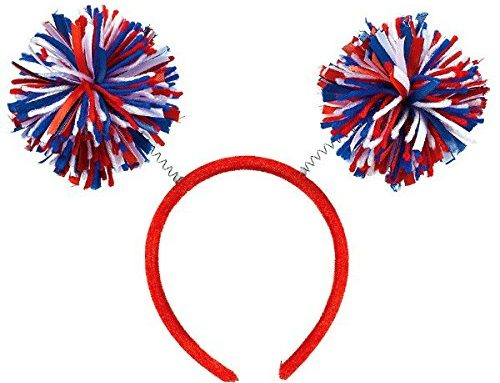 Patriotic Hair Hoop Pom Pom Party Headbopper Hair Accessory