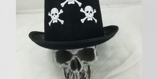 Halloween Black Top Hat with Skull Pattern Costume Accessories