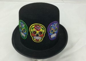 Day of the Dead Sugar Skeleton Top Hat Scary Cap