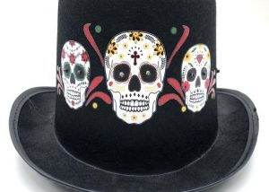 Day of The Dead Skull Skeleton Led Light Top Hat