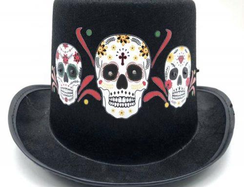 Day of The Dead Skull Skeleton Led Light Top Hat Halloween Novelties
