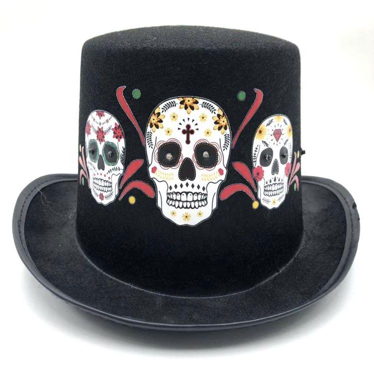 Day of The Dead Skull Skeleton Led Light Top Hat