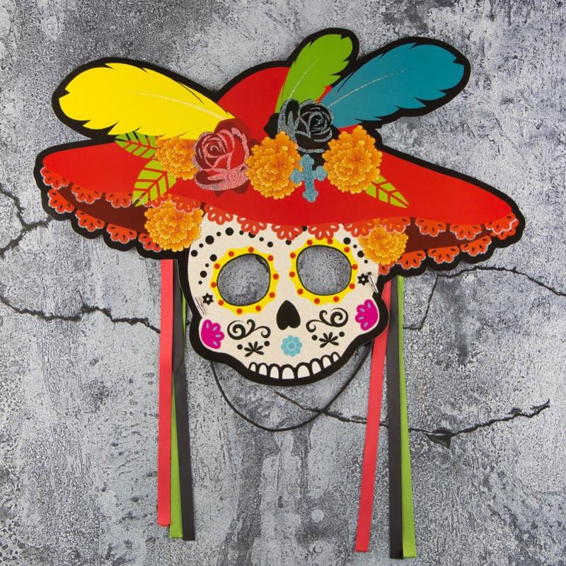 Colorful Sugar Skleton Paper Mask Halloween Half Mask