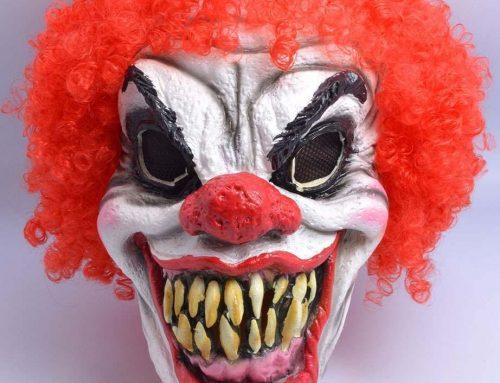 Happy Clown Mask W Hair Fancy Dress Accessories