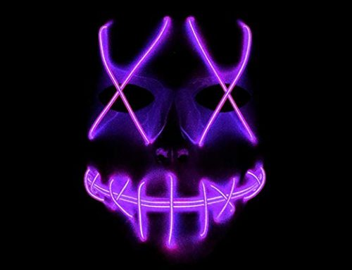 Freighting LED Light Up Mask Halloween Mask Glow Rave Mask