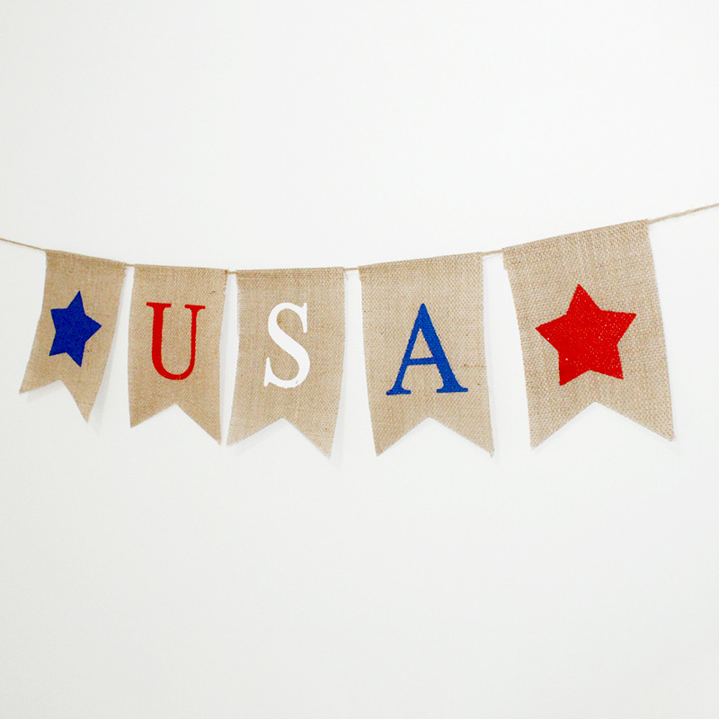 Independence Day Hanging Decor Patriotic USA Banner 4th of July Bunting Flags