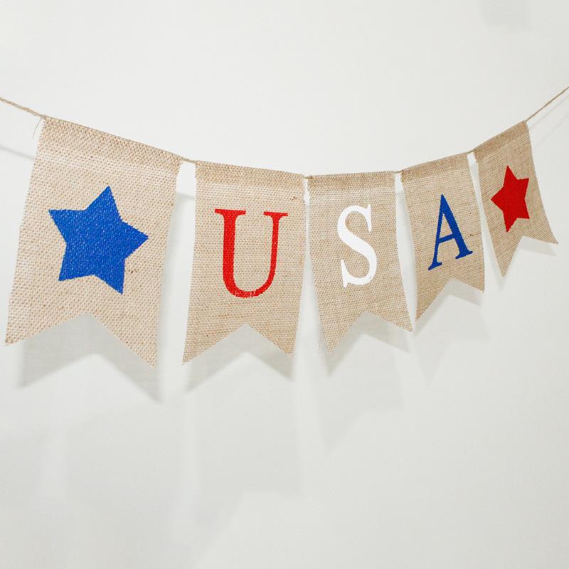 Patriotic Jute Fabric Banner ForUSA National Holiday