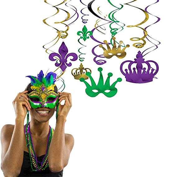 Mardi Gras Party Decoration Hanging Swirl Garland