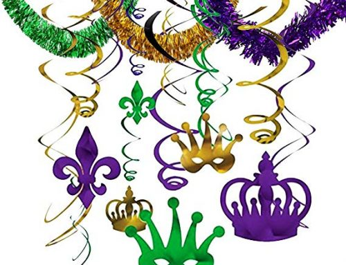 Mardi Gras Hanging Swirls Foil Garlands For New Orleans Carnival Party