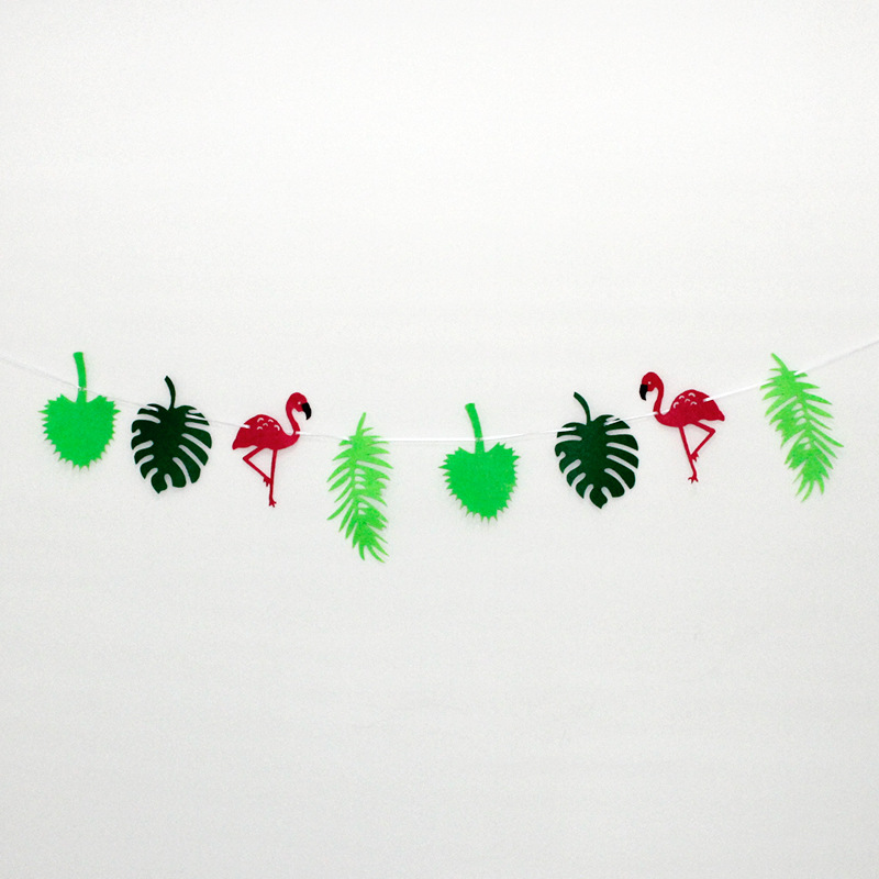 Flamingo Pineapple Leaves Banner Garland