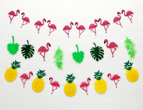 Assorted Flamingo Pineapple Banner Garland Decor Hawaiian Luau Party