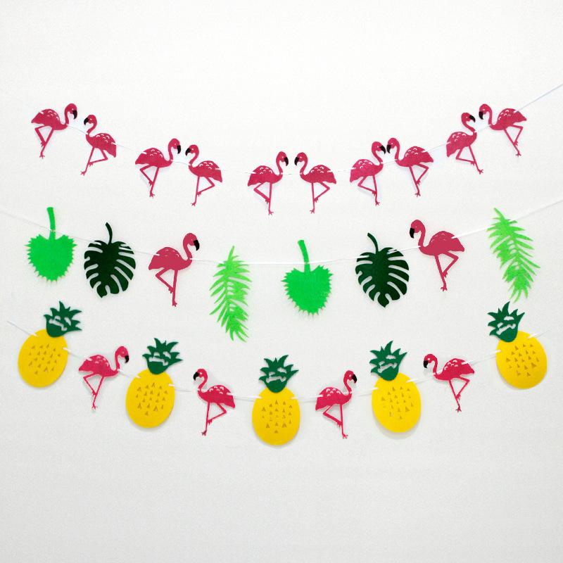 Assorted Flamingo Pineapple Banner Garland Decor Hawaiian Luau Party