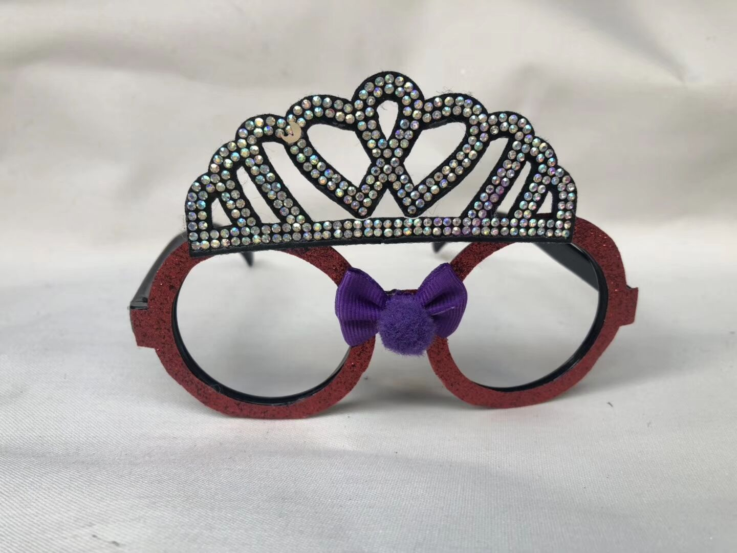 Red Frame Crown Sunglasses Glitter Eyewear Novelty