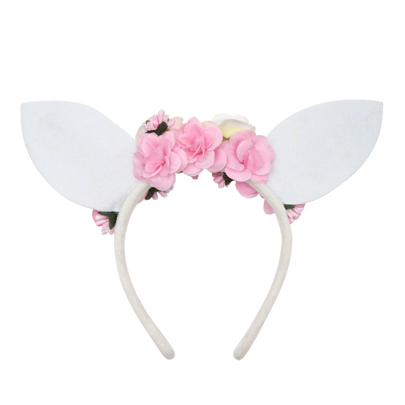Easter Festival Masquerade Party Rabbit Ear Flower Headbands Headwear Hair Accessory
