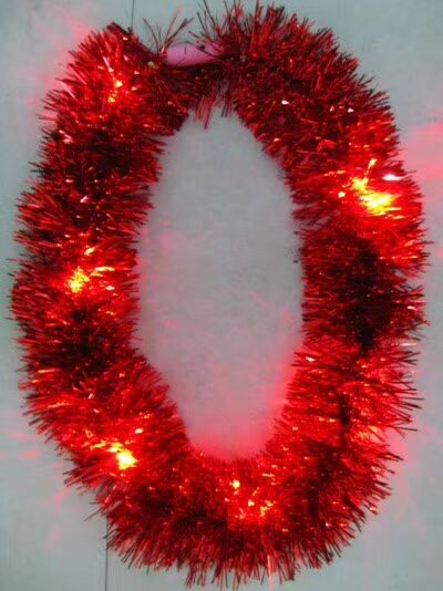 Red Light Up Metallic Tinsel Garlands Mardi Gras Decor