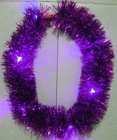 Purple LED Lighting Metallic Garlands for Party Decoration Light Up Garland