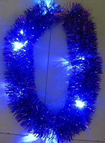 Blue Led Lighting Metallic Tinsel Garlands