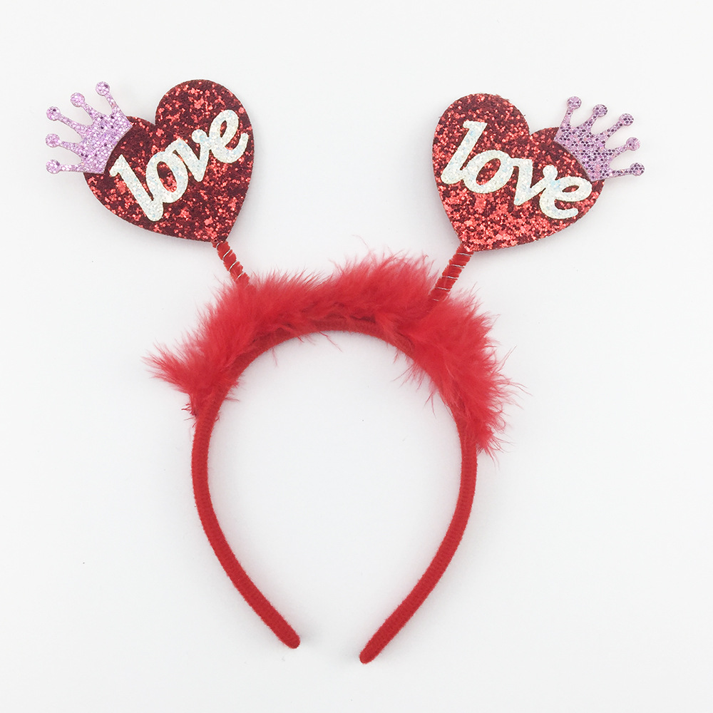 Purple Crown Heart Valentine's Day Glitter Headband with Feathers