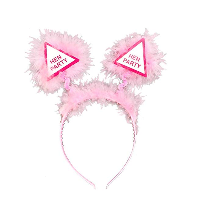 Hen Party Bopper Light Pink Headbopper w Feathers