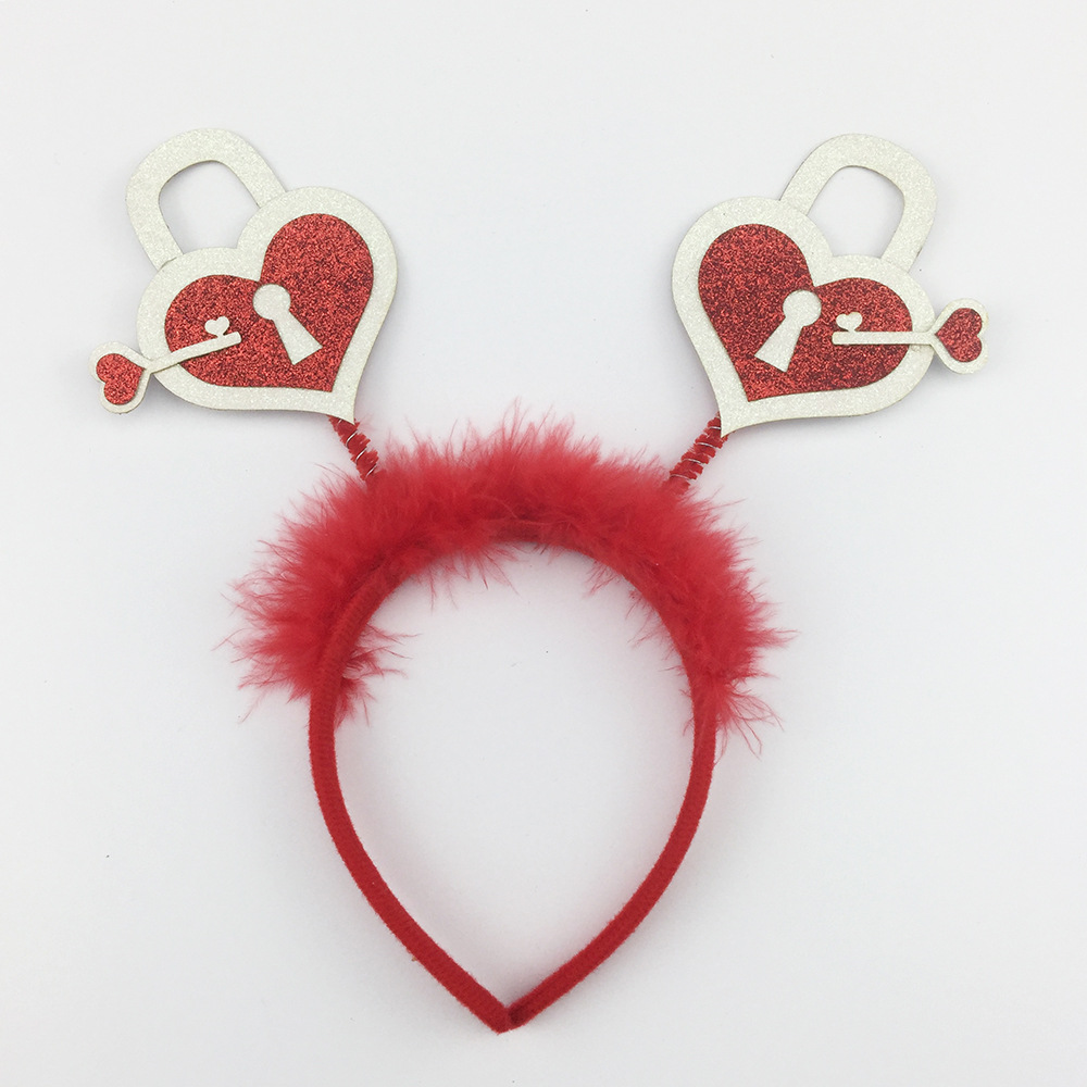Lock the Heart Glitter Headband Bopper for Valentine Day
