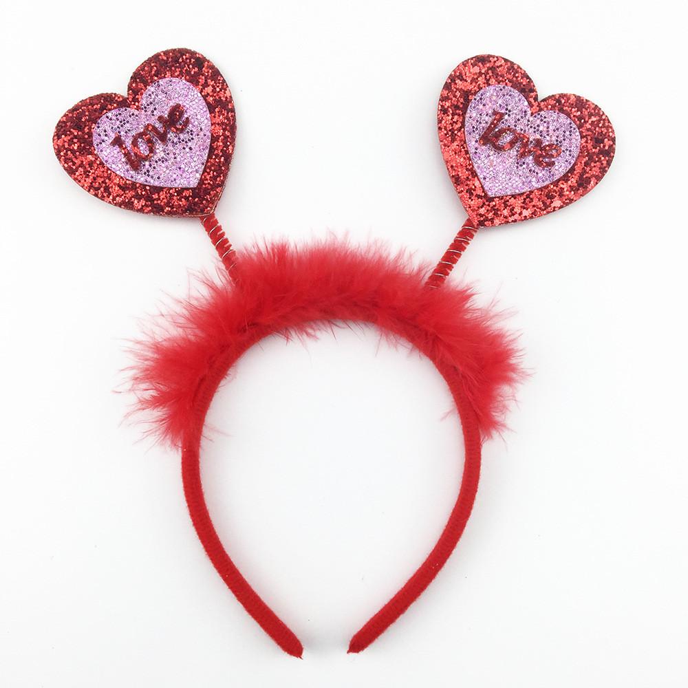 Sequin Heart Shape Headband Bopper for Valentine Day