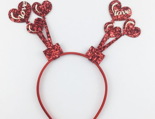 Valentines Day Glitter Headband Love Conversation Heart Bobble Bopper