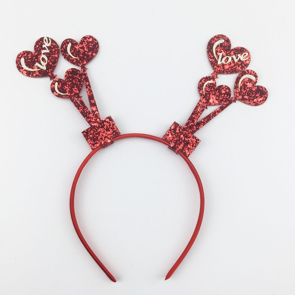 Valentine's Day Glitter Headband Heart Picks