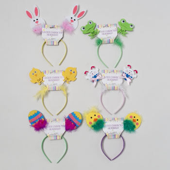 HEADBAND EASTER 6AST CHARACTERS FELT WFEATHER TRIM EASTER
