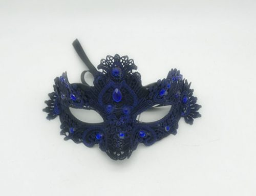 Royal Blue Plastic Lace Half Face Masquerade Mask Diamond Stone Mardi Gras Decor
