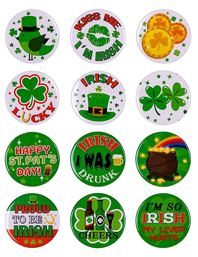 St. Patrick's Day Shamrock Buttons Party Favors Decorations Irish Pins Decor