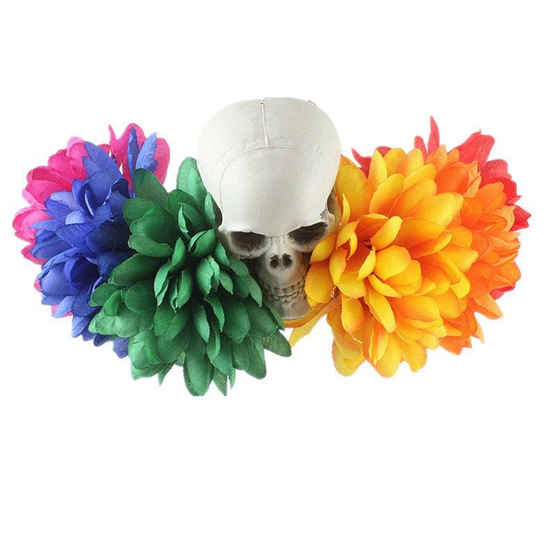 Halloween Headwear With Multicolor Flowers and Creepy Skeleton