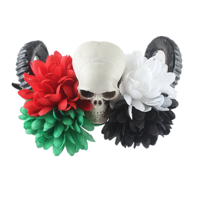 Halloween Sheep Horn Headwear With Black Flowers and Skeleton