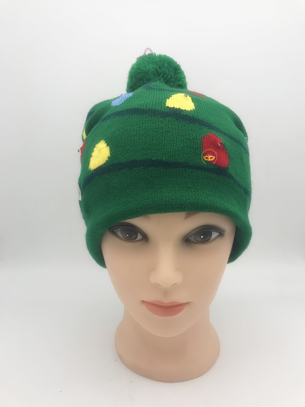 LED Light UP Beanie Hat Christmas Bulb Green Hat