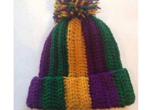 Mardi Gras Stripe Hat Knitted Hat PGG Hat Head Wear For Fat Tuesday