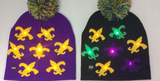 Lego Party Novelty Fleur De Lis LED Mardi Gras Light Up Beanie Hat