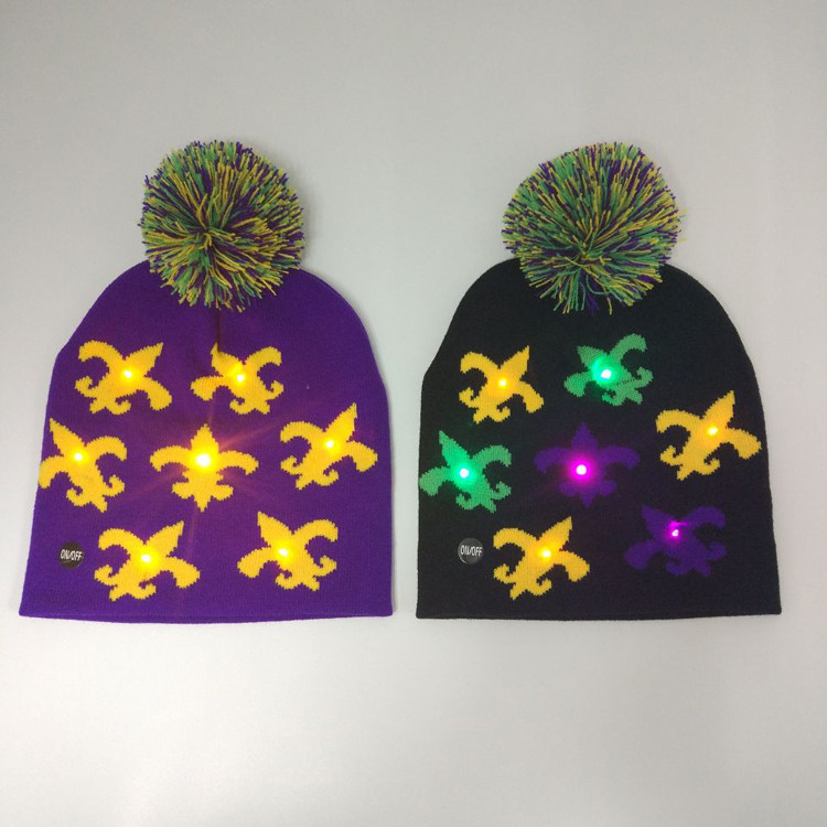 Lego Party Novelty Fleur De Lis LED Mardi Gras Light Up Beanie Hat