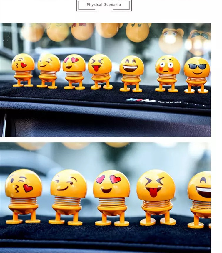 ASST Tik Tok Best-Seller Smiling Face Spring For Car Bus Decoration