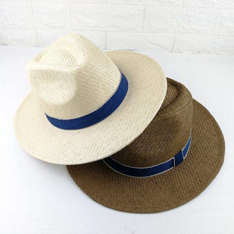 Brown & White Fedora Straw Sun Hats Summer Party Hats