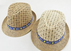Fedora Straw Sun Hats W Smiling Ribbon For Summer Party